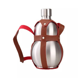 Бутылки - Бутыль-нерж 0,5 л ГОРЛЯНКА (в коже), 0