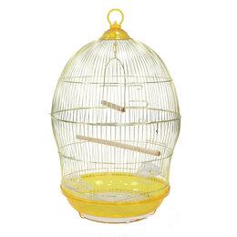 Клетки и домики - N1 Клетка для птиц, 48,5*48,5*76, золотая, круглая, укомплектованная., 0