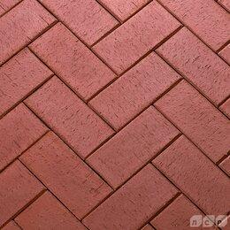 Тротуарная плитка, бордюр - Клинкерная нескользкая долговечная брусчатка темно-красная, 0