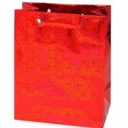 Подарочная упаковка - Пакет подарочный Голография 26х32 см, красный, 0