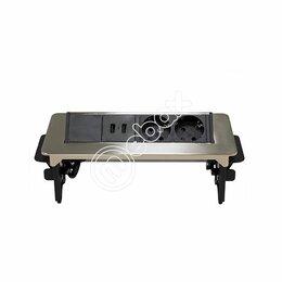 Электроустановочные изделия - Блок розеток выдвижной горизонтальный 47, 2 розетки, 2 USB, металлик, 0