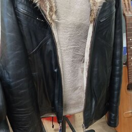 Куртки - Куртка мужская кожаная с мехом , 0