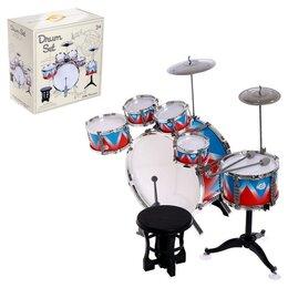 Ударные установки и инструменты - Барабанная установка «Виртуоз», 6 барабанов, 2 тарелки, палочки, педаль, стул..., 0