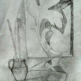 Картины, постеры, гобелены, панно - Натюрморт с гипсовой розеткой, 0