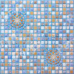 Декоративные фонтаны и панели - Медальон синий мозаика 957*480мм (30), 0