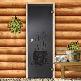 Двери - Дверь для бани и сауны стеклянная 'Банька, круглая', размер каробки 190x70см,..., 0
