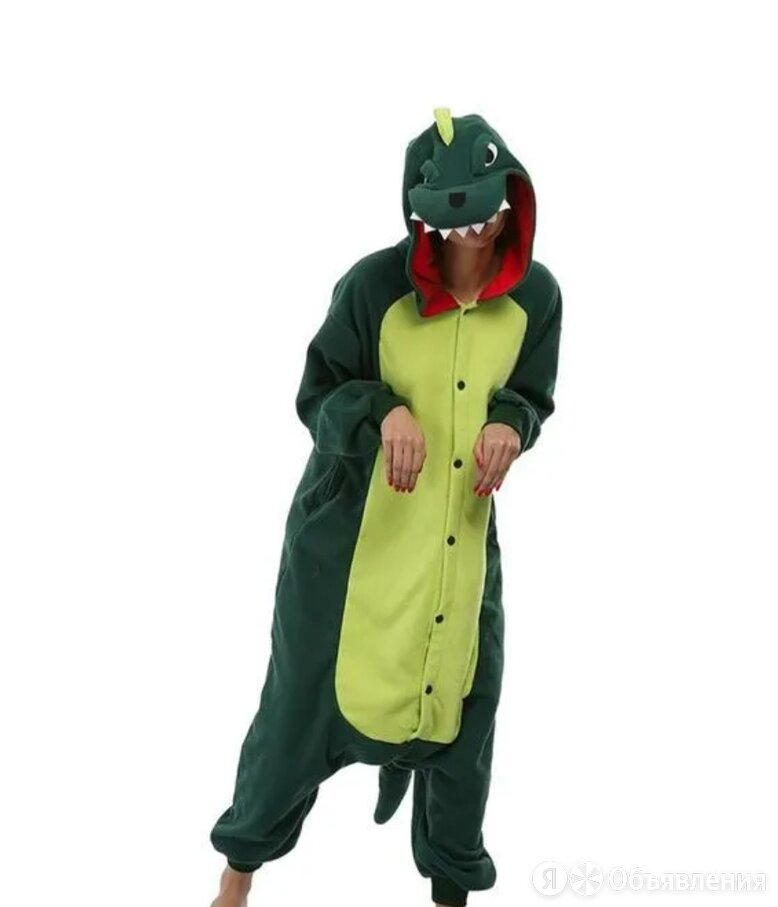 Детский кигуруми пижама Динозавр, цвет: зеленый, артикул: KIG-16 по цене 980₽ - Кигуруми, фото 0