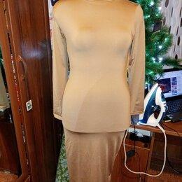 Платья - платье длинное, ткань тянется, размер 46, цена 540 рублей, 0