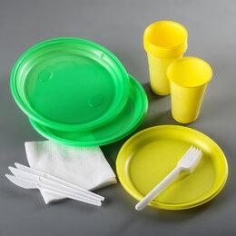 Наборы для пикника - Набор одноразовой посуды «Светофор», 3 персоны, цвет МИКС, 0