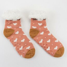 Домашняя одежда - Носки женские с мехом внутри Нжмех30593-03 Котик цвет розовый, р-р 23-25 (р-р..., 0