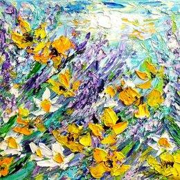 "Картины, постеры, гобелены, панно - Картина""Цветущие травы"",холст,масло,мастихин,24х30, 0"