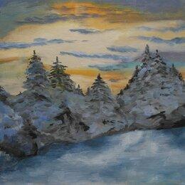 Картины, постеры, гобелены, панно - Зимний пейзаж масло, 0