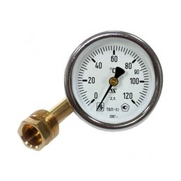 Аксессуары - Термометр биметаллический, осевой 0-120°С, 0