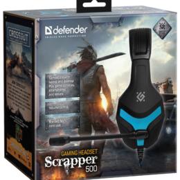 Компьютерные гарнитуры - Гарнитура Defender Scrapper 500 синий + черный, кабель 2 м, 0