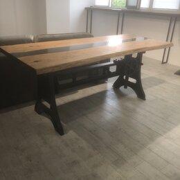 Столы и столики - Стол лофт индастриал слэб река, 0