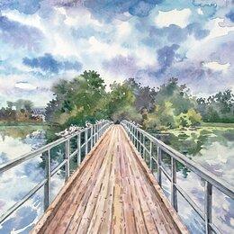 """Картины, постеры, гобелены, панно - Картина """"Мост, чайки, облака"""", 0"""