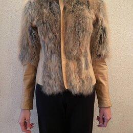 Куртки - Куртка из лисы с кожаными вставками, 0