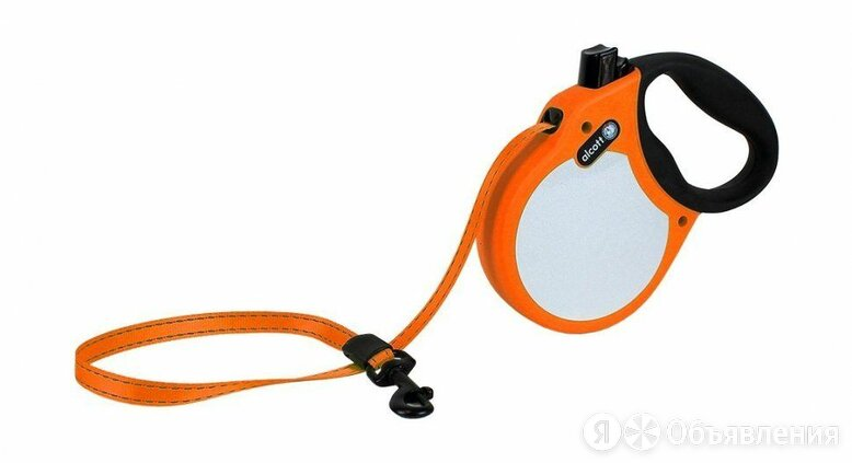 ALCOTT Visibility Рулетка-ремень антискользящая для собак до 30кг, 5м, неон оран по цене 1870₽ - Корма , фото 0