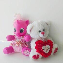 Мягкие игрушки - Две мягкие музыкальные игрушки Единорог пони мишка, 0