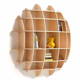 Полки, шкафчики, этажерки - Полка круглая для книг настенная навесная из дерева, 0