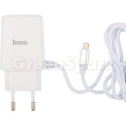Прочие запасные части - СЗУ HOCO C82A Real power (2-USB/2.4A) + встроенный Lightning кабель (белый), 0