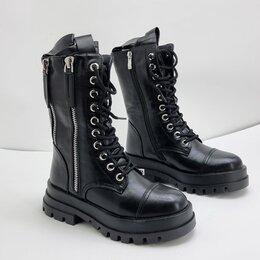 Полусапоги - Полусапоги на шнуровке чёрные, 0