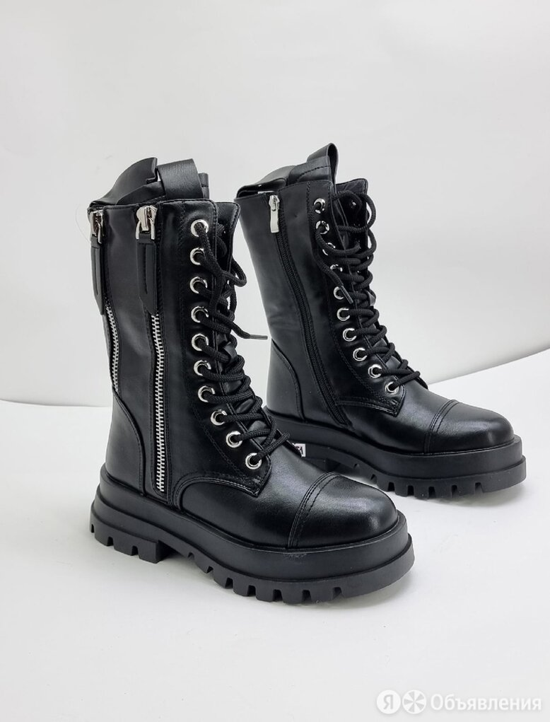 Полусапоги на шнуровке чёрные по цене 4400₽ - Полусапоги, фото 0