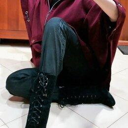 Ботинки - 🔴 Замша ботинки ботильоны полусапожки с мехом, 0