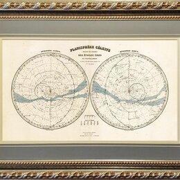 Гравюры, литографии, карты - Гравированная карта 1860-ых гг. Полушария звездного неба, в раме, 0