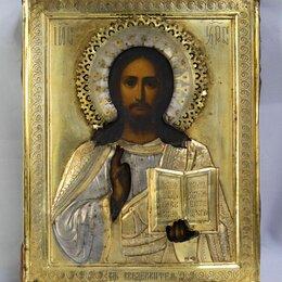 Иконы - Икона Господь Вседержитель, серебро 84 пробы клеймо АС (008-1028), 0