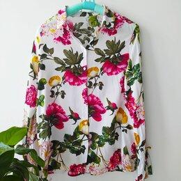 Блузки и кофточки - Блузка пионы хлопок вискоза размер 44 S, 0