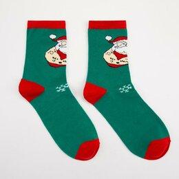 Носки - Носки мужские нмнг1123-05-02 Дед мороз в наколках цвет зелёный, р-р 27-29 (р-..., 0