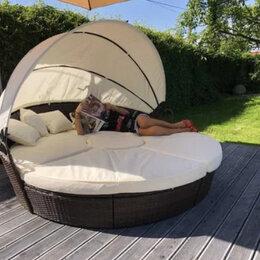 Кровати - Кровать шезлонг круглая, садовый лежак из ротанга 210 см., 0