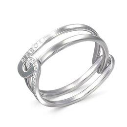 Кольца и перстни - Кольцо с 17 фианитами из белого золота, 0