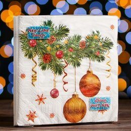Влажные салфетки - Новогодние салфетки бумажные New Line Fresco «Новогодний кант», 33х33 см, 3 слоя, 0