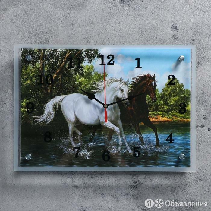 """Часы настенные прямоугольные """"Кони"""", 25х35 см по цене 649₽ - Часы настенные, фото 0"""