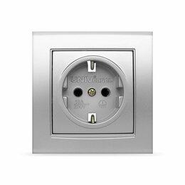 Электроустановочные изделия - Розетка 1-ая «Universal» серия «Бриллиант» с/у 16А с/з серебро, 0
