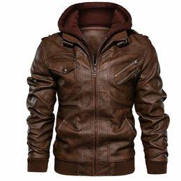 Куртки - Куртка мужская кожаная с капюшоном 4хl, 0