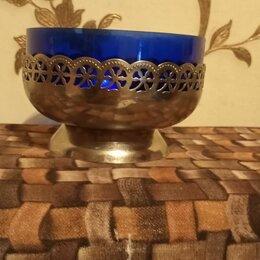 Посуда - Сахарница-конфетница ссср. чаша из синего стекла, 0