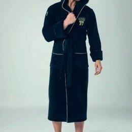 Домашняя одежда - Cassoli Халат мужской с капюшоном 2XL темно-синий. Турция, 0
