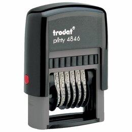 Мебель для учреждений - Нумератор 6-разрядный, оттиск 25х4 мм, синий, TRODAT 4846, корпус черный, 0