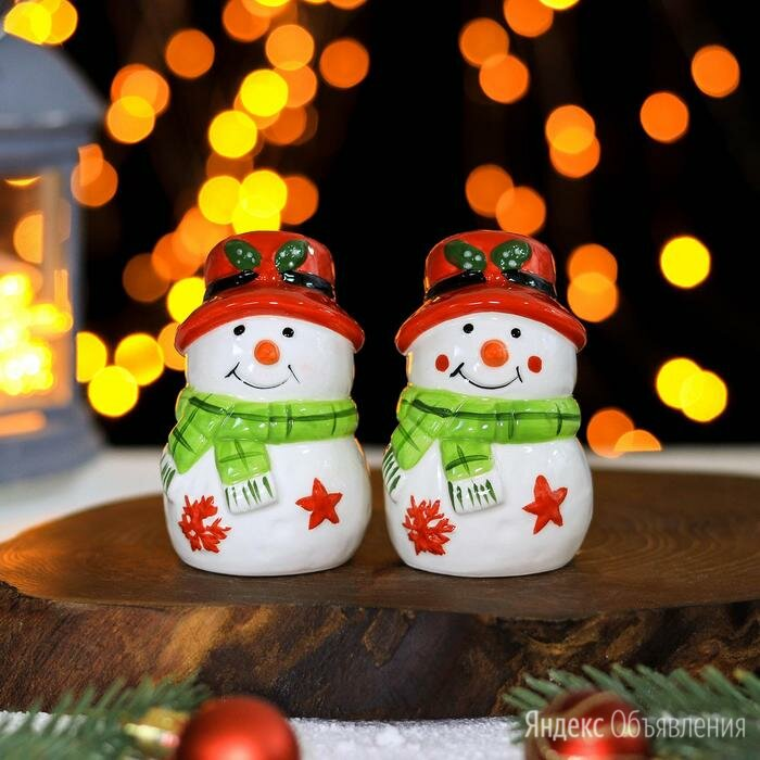 Набор для специй Доляна «Снеговик», 2 шт: солонка, перечница, 5,5×8,5 см по цене 658₽ - Солонки, перечницы и ёмкости для специй, фото 0