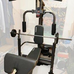 Тренажеры со встроенными и свободными весами - Многофункциональный силовой тренажер Torneo Power PRO 8 в 1 + гриф и 60кг, 0