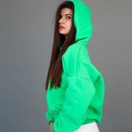 Толстовки - Худи с капюшоном зелёного цвета, тёплое , 0