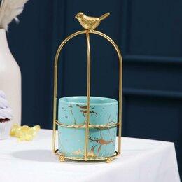 Блюда, салатники и соусники - Конфетница 'Изумруд.Птичка', 220 мл, 9x20,5 см, 0