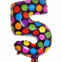 Скрапбукинг - Шар фольга Пятёрка конфетти 33см, 0