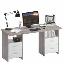 Компьютерные и письменные столы - СКЛ-Прям150 (две тумбы) компьютерный стол, 0