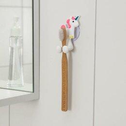 Зубные щетки - Держатель для зубной щётки детский «Весёлые зверюшки», на присоске, дизайн МИКС, 0