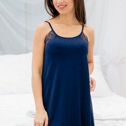 Домашняя одежда - Сорочка женская вискозная свободного кроя на бретелях, темно-синий, 0