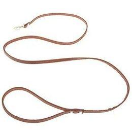Поводки  - Поводок кожаный тисненый однослойный - 140 см, коричневый, 0